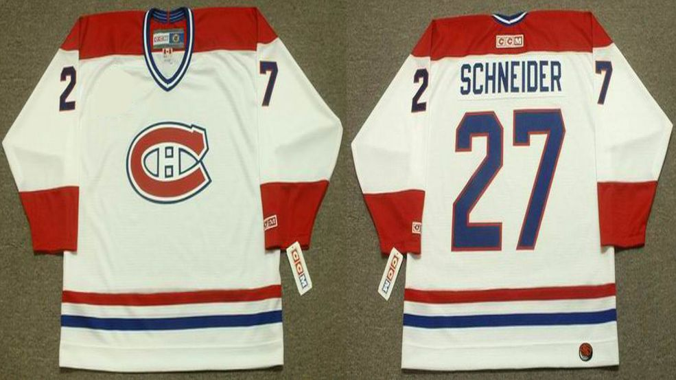 2019 Men Montreal Canadiens 27 Schneider White CCM NHL jerseys