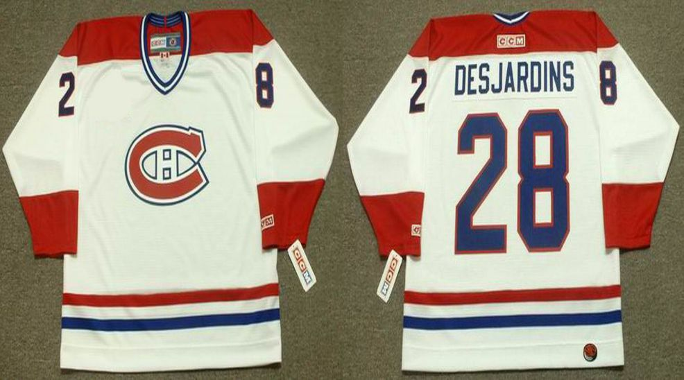 2019 Men Montreal Canadiens 28 Desjardins White CCM NHL jerseys