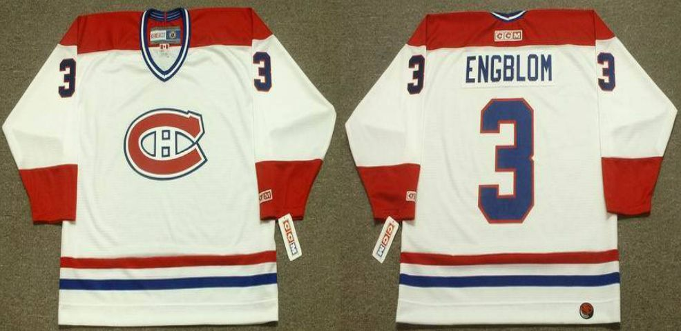 2019 Men Montreal Canadiens 3 Engblom White CCM NHL jerseys