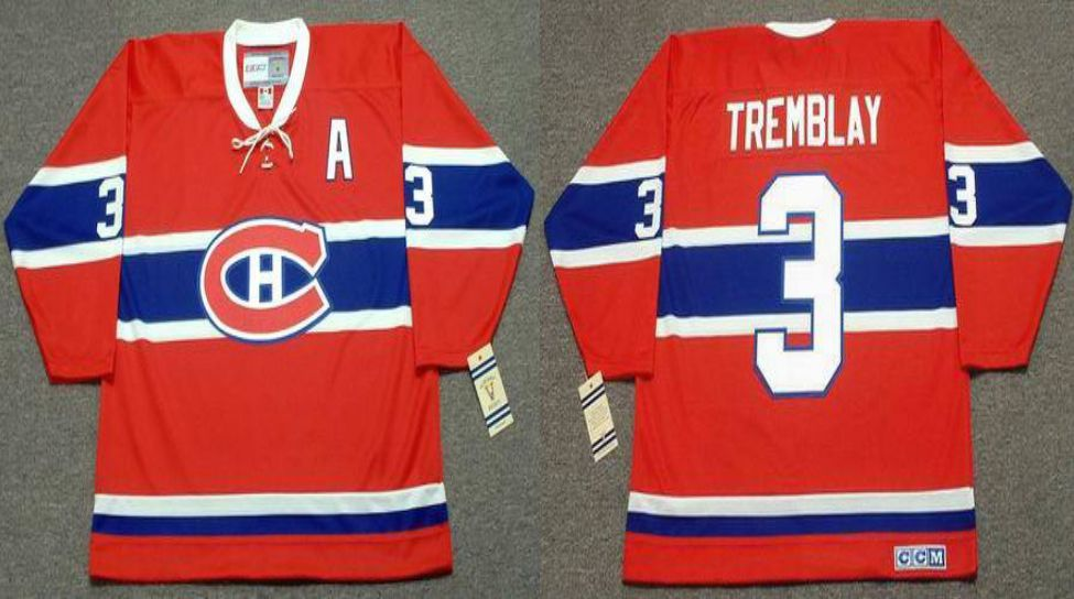 2019 Men Montreal Canadiens 3 Tremblay Red CCM NHL jerseys