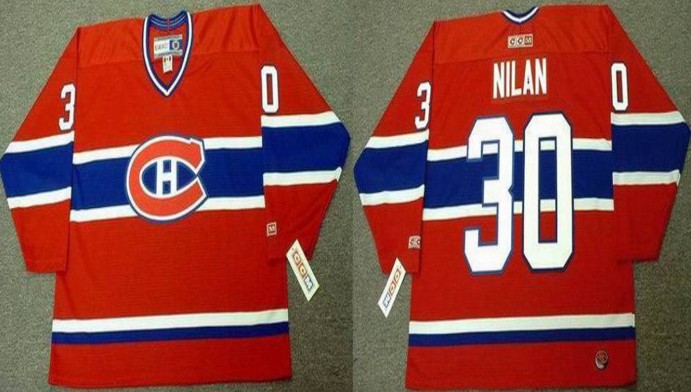 2019 Men Montreal Canadiens 30 Nilan Red CCM NHL jerseys