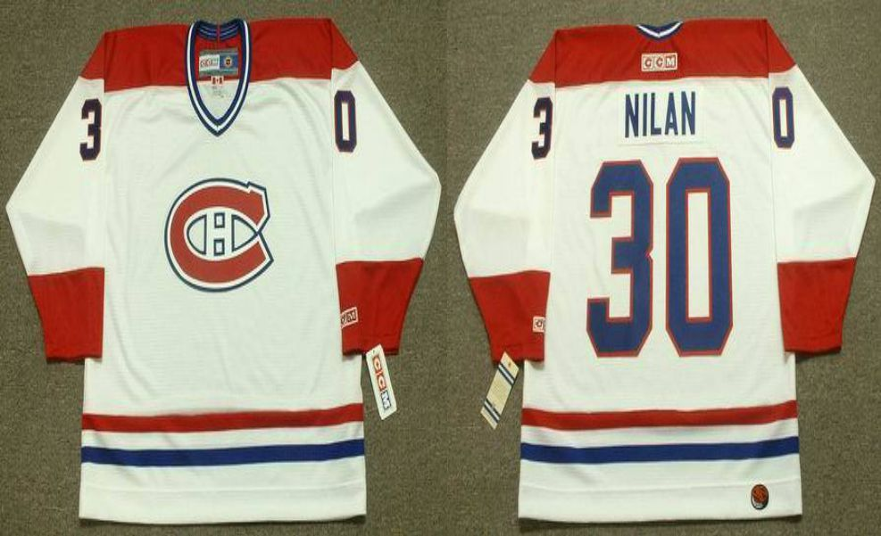 2019 Men Montreal Canadiens 30 Nilan White CCM NHL jerseys