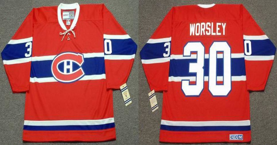 2019 Men Montreal Canadiens 30 Worsley Red CCM NHL jerseys