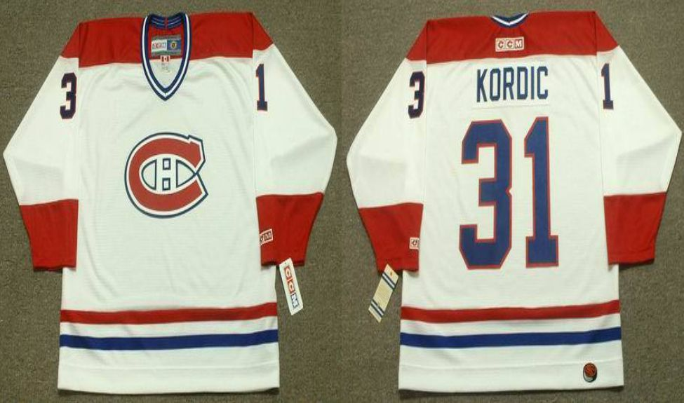 2019 Men Montreal Canadiens 31 Kordic White CCM NHL jerseys