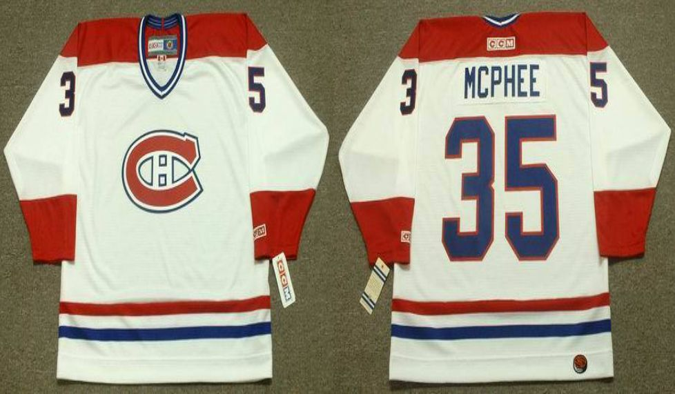 2019 Men Montreal Canadiens 35 Mcphee White CCM NHL jerseys