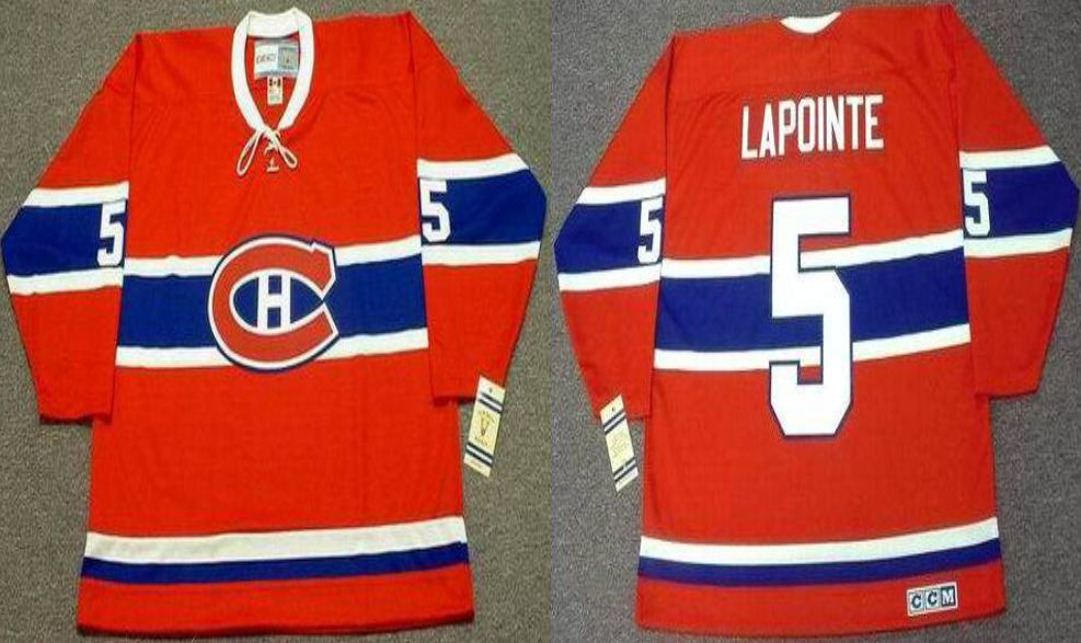 2019 Men Montreal Canadiens 5 Lapointe Red CCM NHL jerseys