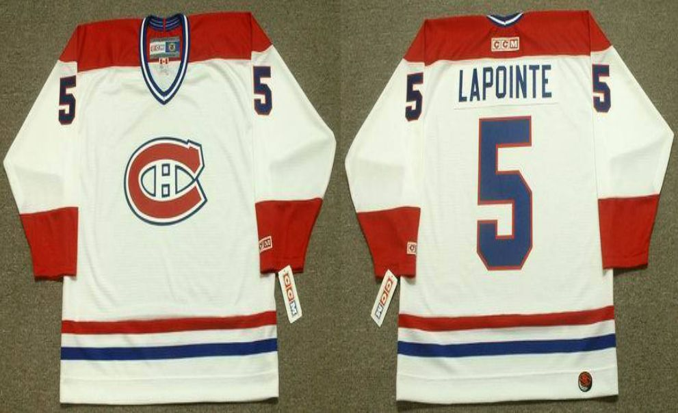 2019 Men Montreal Canadiens 5 Lapointe White CCM NHL jerseys