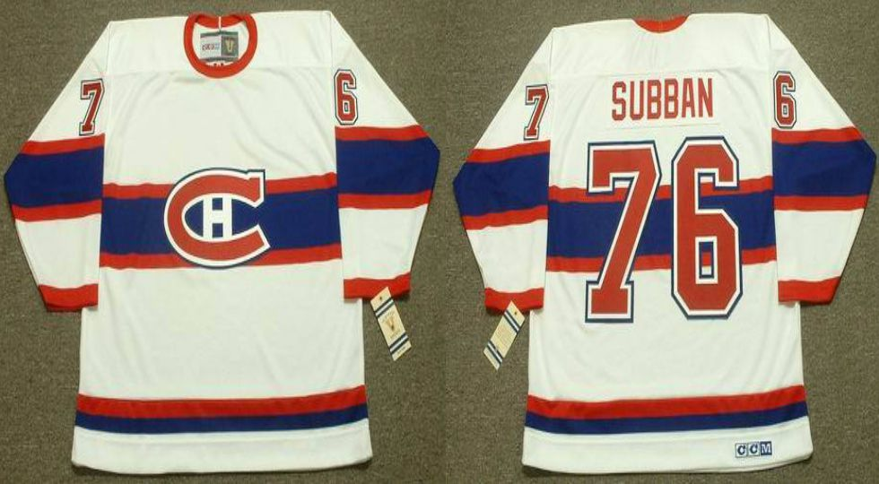 2019 Men Montreal Canadiens 76 Subban White CCM NHL jerseys