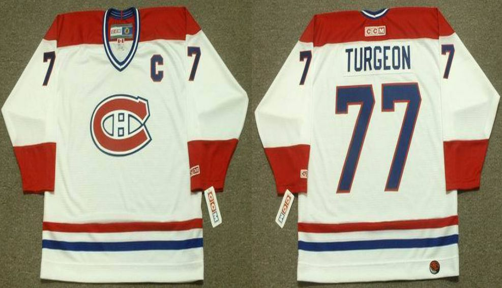 2019 Men Montreal Canadiens 77 Turgeon White CCM NHL jerseys