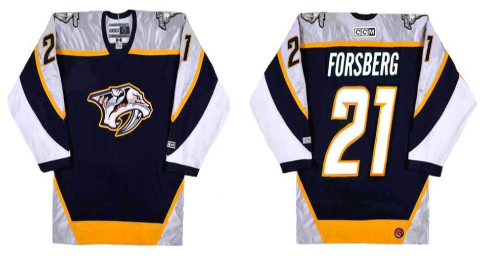 2019 Men Nashville Predators 21 Forsberg black CCM NHL jerseys