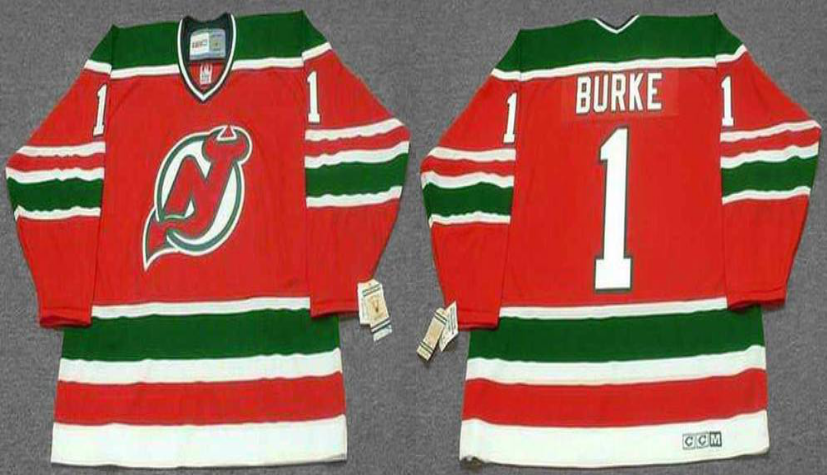 2019 Men New Jersey Devils 1 Burke red CCM NHL jerseys