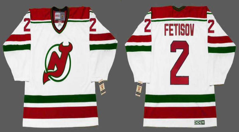 2019 Men New Jersey Devils 2 Fetisov white CCM NHL jerseys