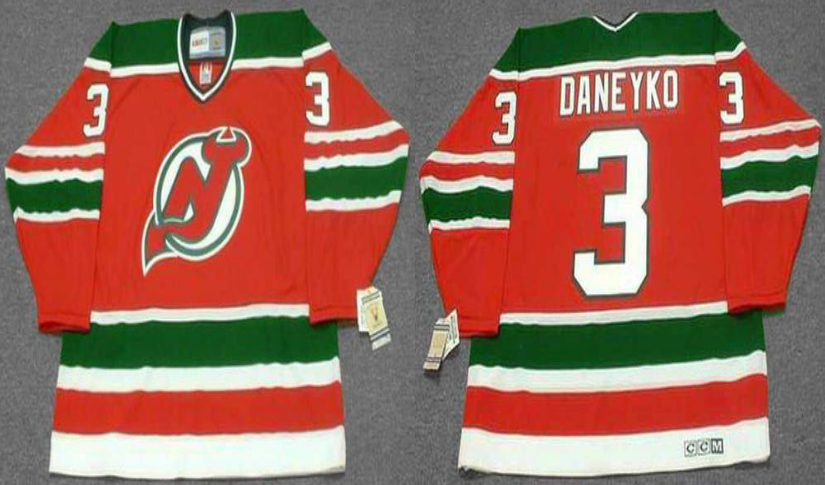 2019 Men New Jersey Devils 3 Daneyko red CCM NHL jerseys