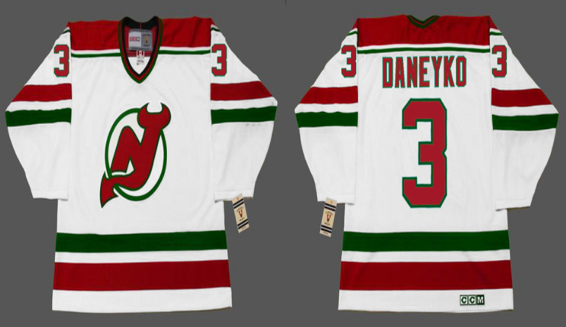 2019 Men New Jersey Devils 3 Daneyko white CCM NHL jerseys