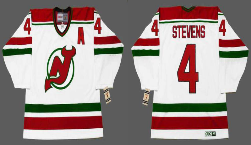 2019 Men New Jersey Devils 4 Stevens white CCM NHL jerseys