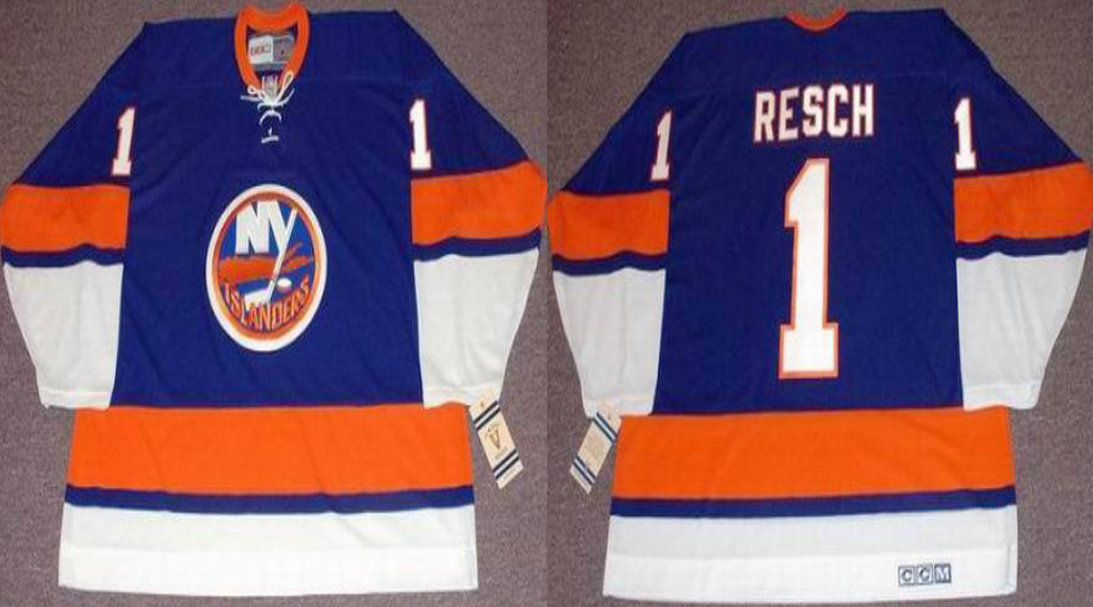 2019 Men New York Islanders 1 Resch blue CCM NHL jersey