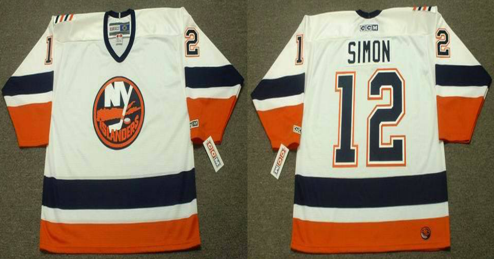 2019 Men New York Islanders 12 Simon white CCM NHL jersey