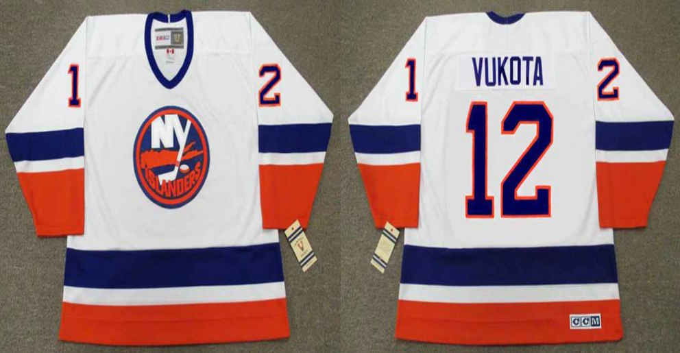 2019 Men New York Islanders 12 Vukota white CCM NHL jersey