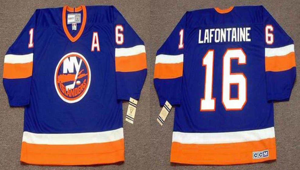 2019 Men New York Islanders 16 Lafontaine blue CCM NHL jersey