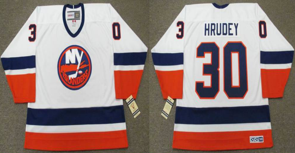 2019 Men New York Islanders 30 Hrudey white CCM NHL jersey