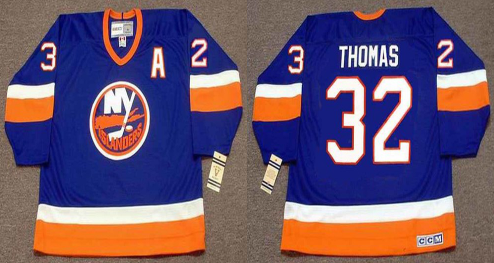 2019 Men New York Islanders 32 Thomas blue CCM NHL jersey