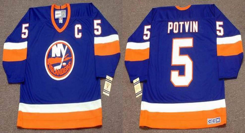 2019 Men New York Islanders 5 Potvin blue CCM NHL jersey