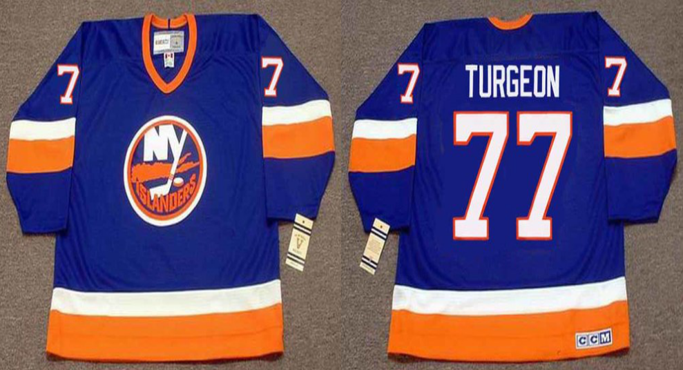 2019 Men New York Islanders 77 Turgeon blue CCM NHL jersey