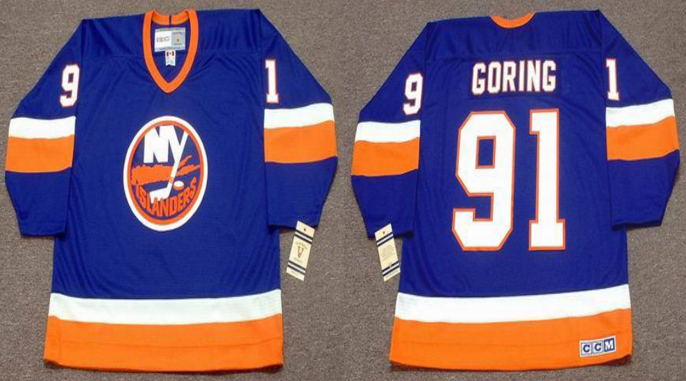 2019 Men New York Islanders 91 Goring blue CCM NHL jersey