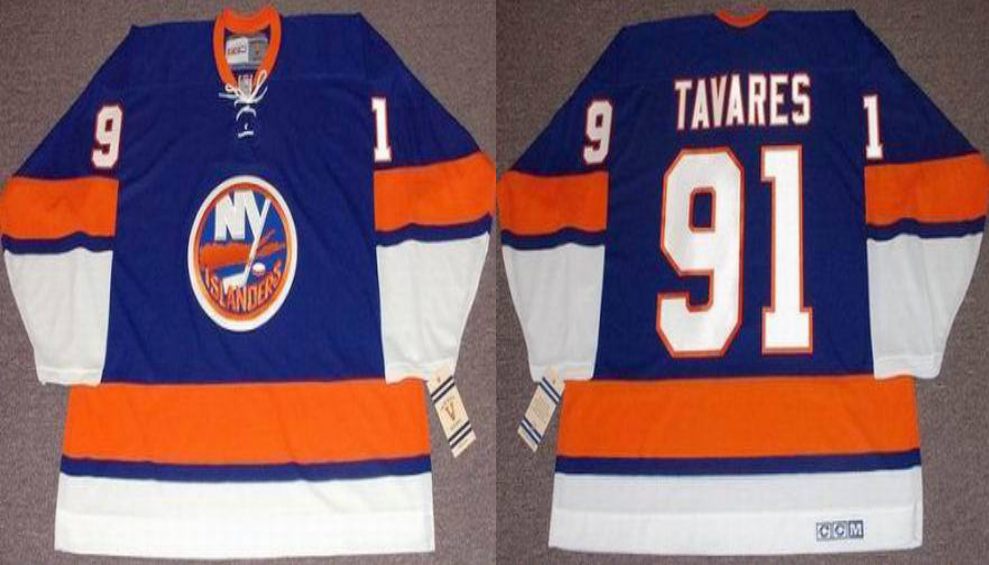 2019 Men New York Islanders 91 Tavares blue CCM NHL jersey