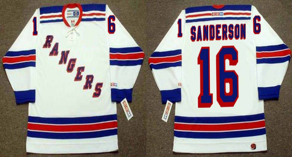 2019 Men New York Rangers 16 Sanderson white CCM NHL jerseys