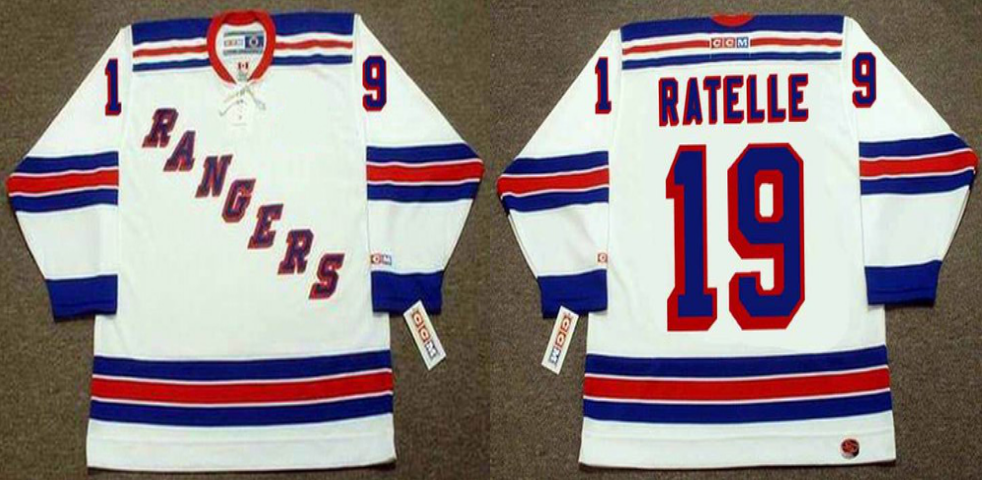 2019 Men New York Rangers 19 Ratelle white CCM NHL jerseys