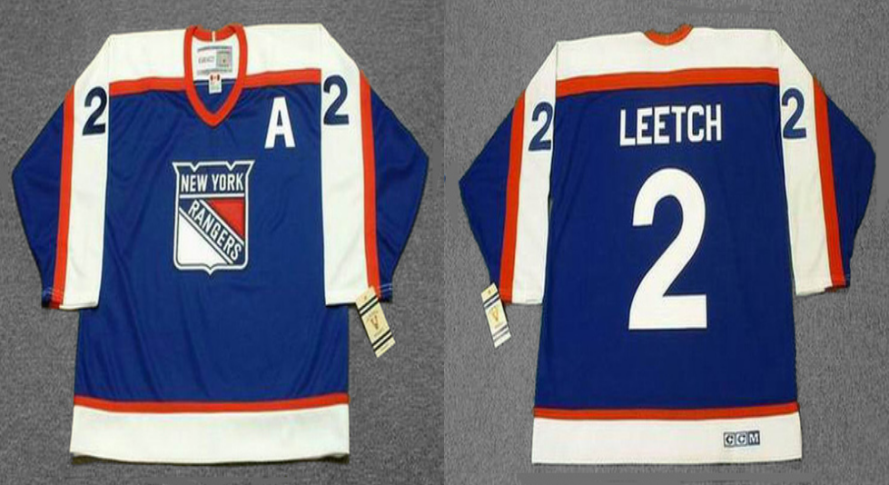 2019 Men New York Rangers 2 Leetch blue style 2 CCM NHL jerseys