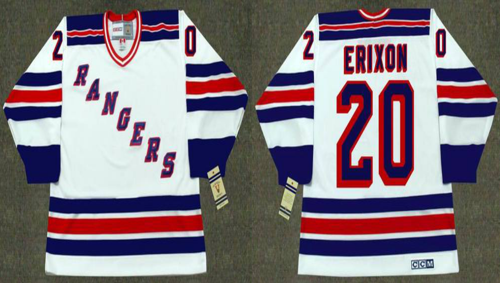 2019 Men New York Rangers 20 Erixon white CCM NHL jerseys