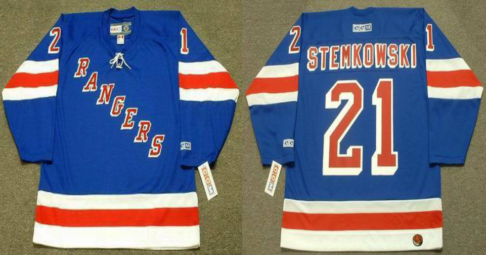 2019 Men New York Rangers 21 Stemkowski Blue CCM NHL jerseys