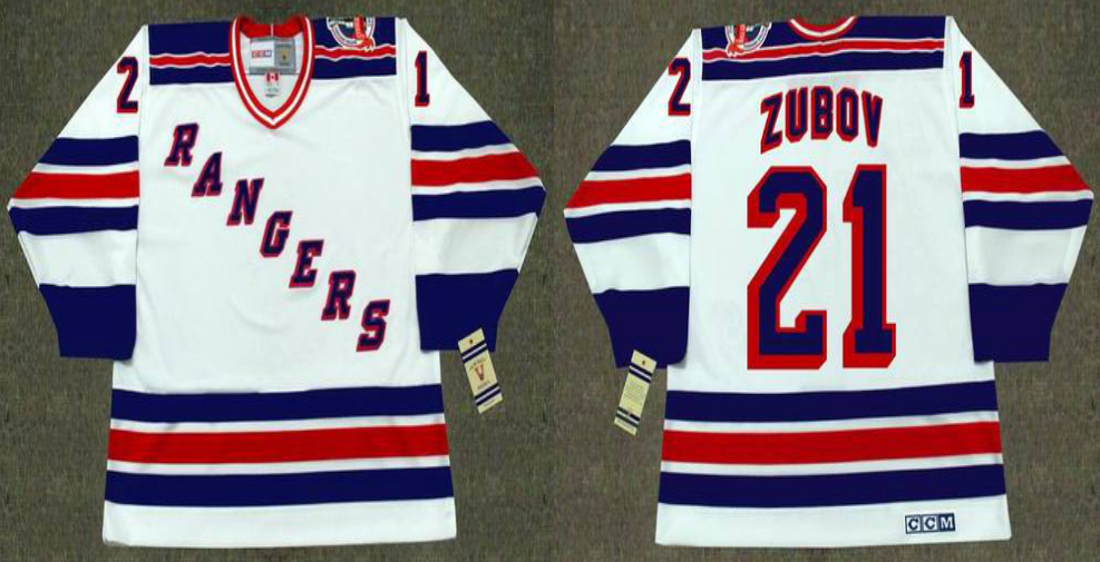 2019 Men New York Rangers 21 Zubov white CCM NHL jerseys