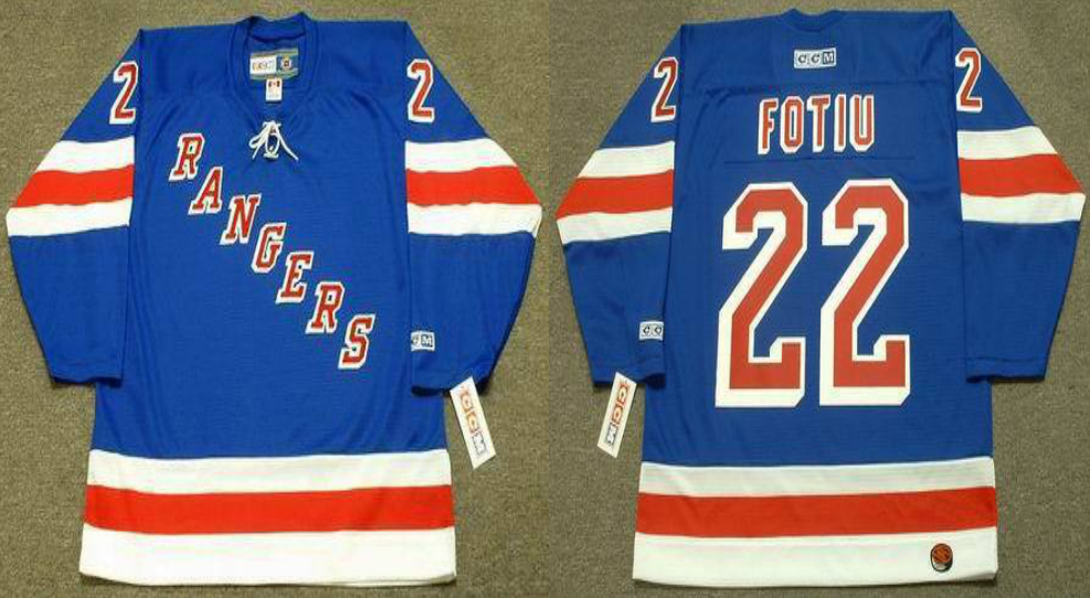 2019 Men New York Rangers 22 Fotiu blue style 2 CCM NHL jerseys