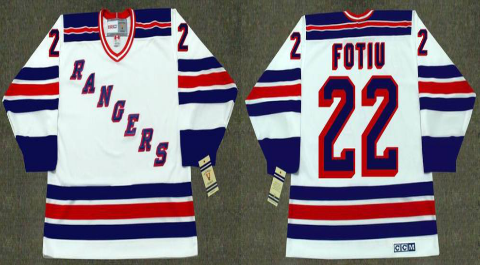 2019 Men New York Rangers 22 Fotiu white CCM NHL jerseys