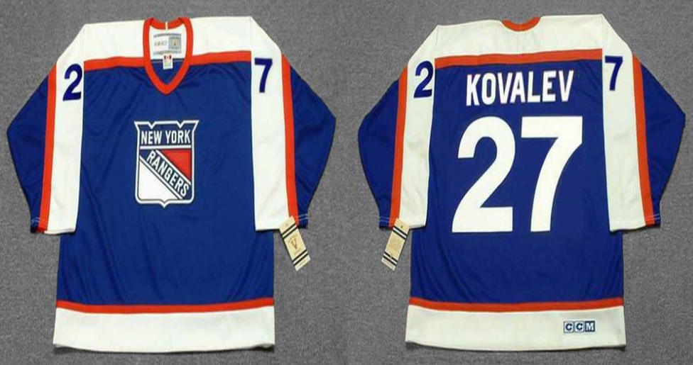 2019 Men New York Rangers 27 Kovalev blue style 2 CCM NHL jerseys