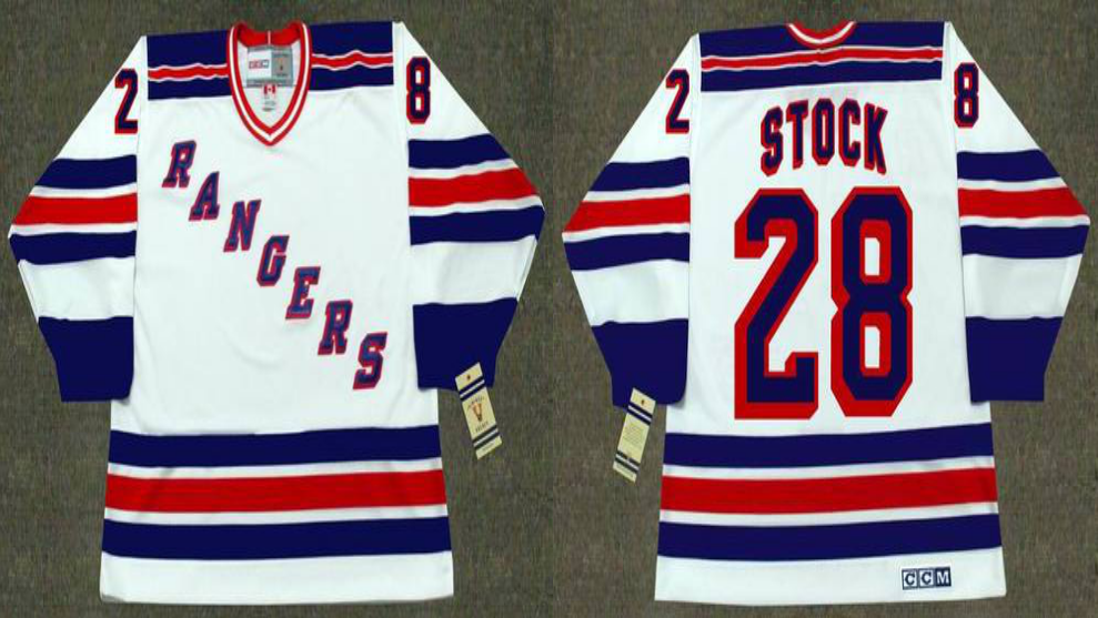 2019 Men New York Rangers 28 Stock white CCM NHL jerseys