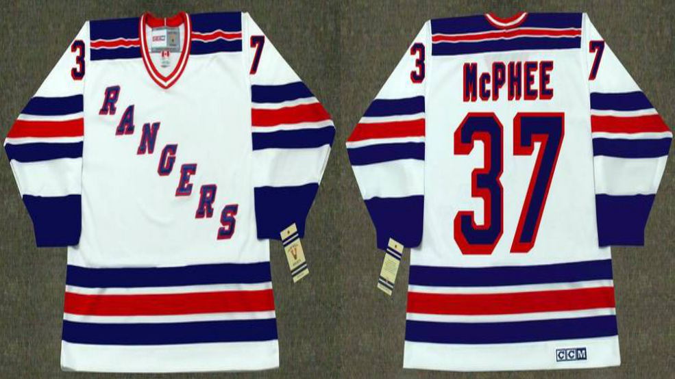 2019 Men New York Rangers 37 McPhee white CCM NHL jerseys