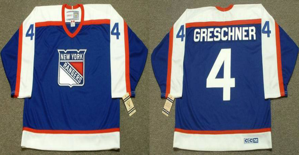 2019 Men New York Rangers 4 Greschner blue CCM NHL jerseys