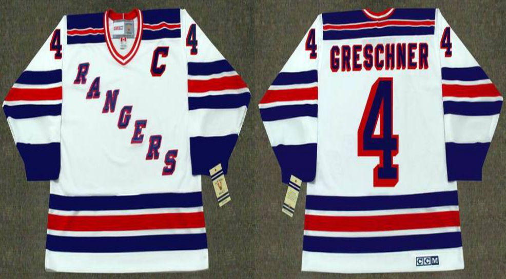 2019 Men New York Rangers 4 Greschner white CCM NHL jerseys