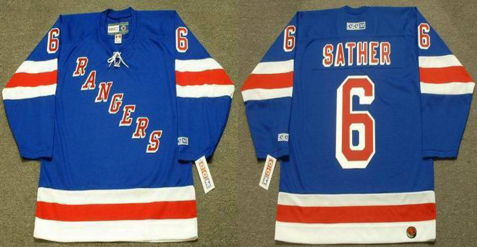 2019 Men New York Rangers 6 Sather blue CCM NHL jerseys