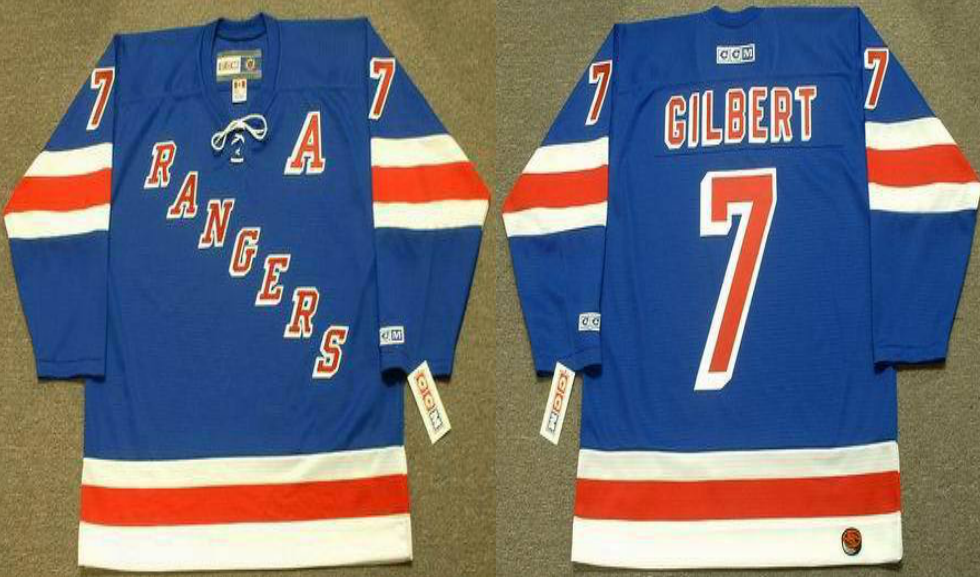 2019 Men New York Rangers 7 Gilbert blue style 2 CCM NHL jerseys