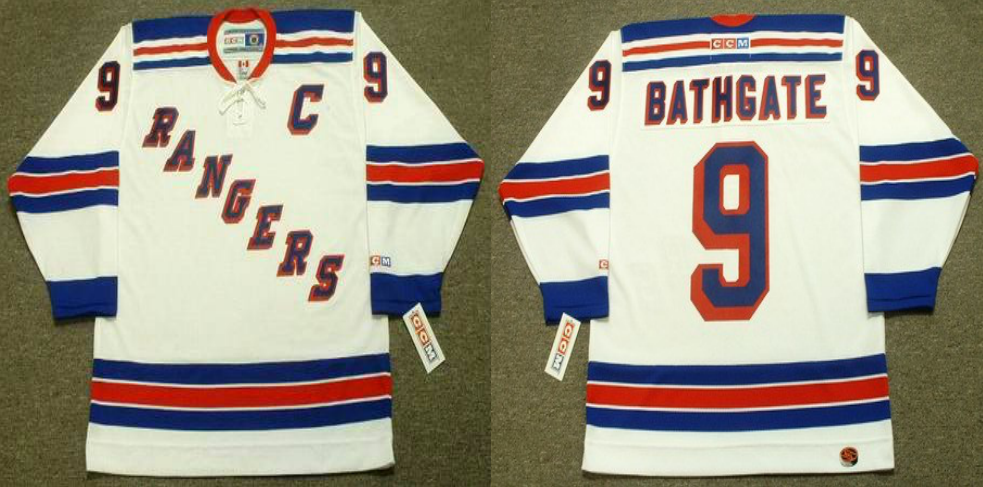 2019 Men New York Rangers 9 Bathgate white CCM NHL jerseys