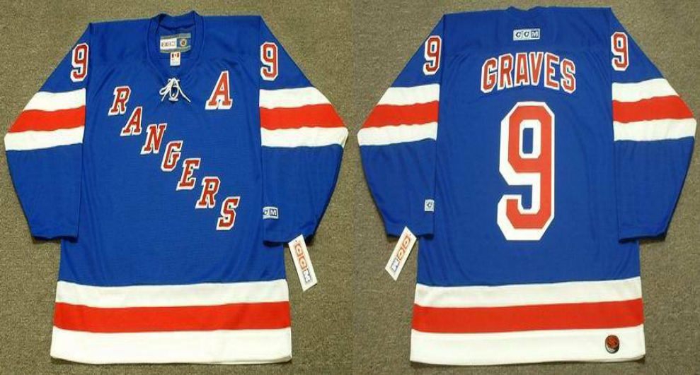 2019 Men New York Rangers 9 Graves blue style 3 CCM NHL jerseys