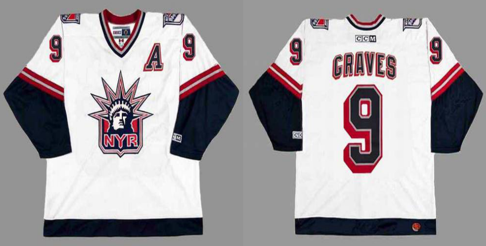 2019 Men New York Rangers 9 Graves white CCM NHL jerseys
