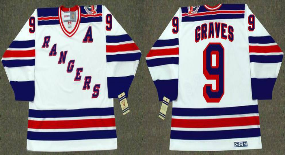 2019 Men New York Rangers 9 Graves white style 2 CCM NHL jerseys