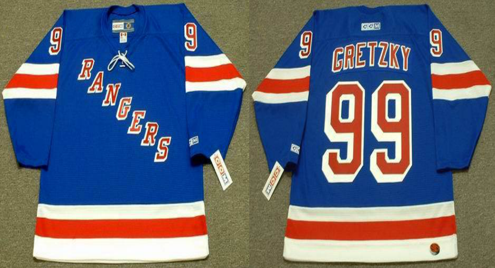 2019 Men New York Rangers 99 Gretzky blue style 2 CCM NHL jerseys