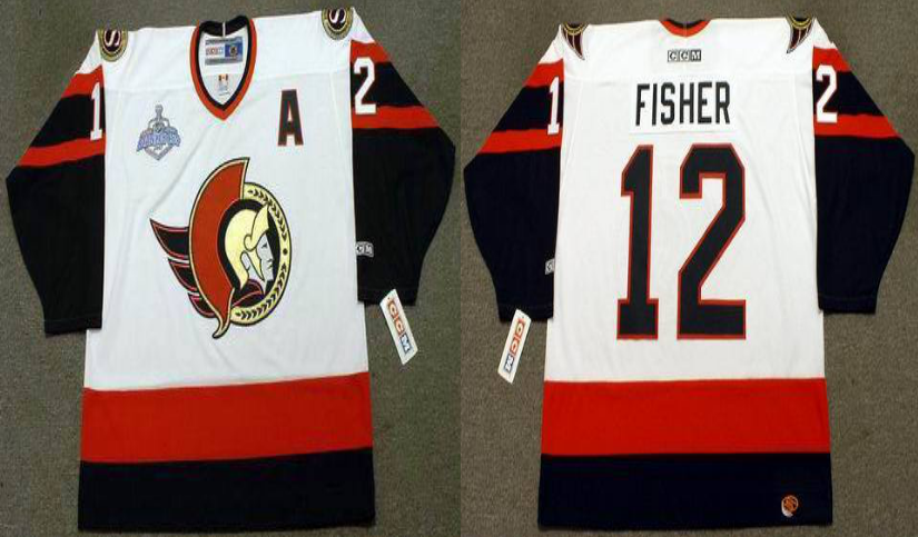 2019 Men Ottawa Senators 12 Fisher white CCM NHL jerseys